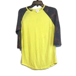 Lularoe Neon Yellow Navy Aztec Randy Tee